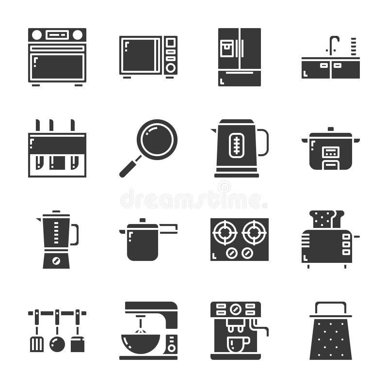 Ensemble d'icône de vaisselle de cuisine et d'équipement Illustration de vecteur illustration de vecteur