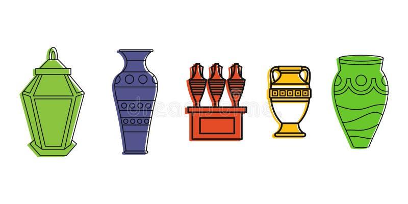 Ensemble d'icône de vase, style d'ensemble de couleur illustration stock