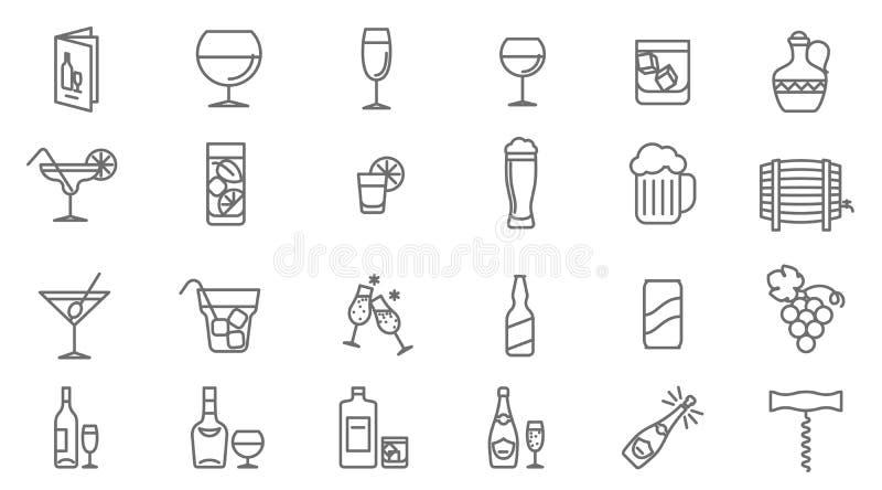 Ensemble d'icône de vecteur de boissons illustration de vecteur