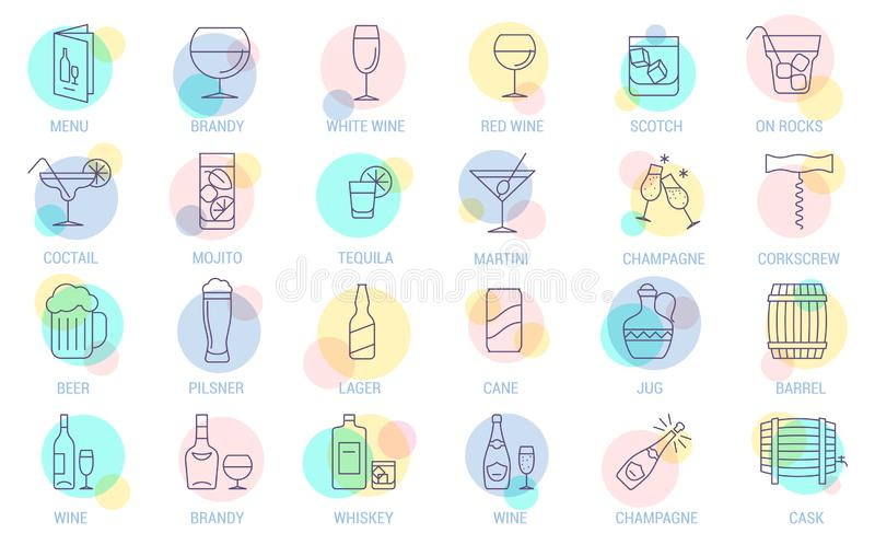 Ensemble d'icône de vecteur de boissons illustration libre de droits