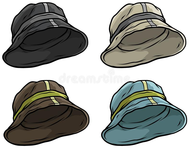 Ensemble d'icône de vecteur de chapeau ou de chapeau de Panama de bande dessinée illustration libre de droits