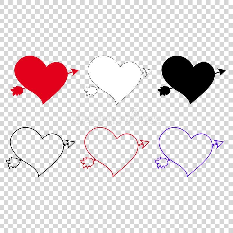 Ensemble d'icône de vecteur de différents coeurs percés avec la flèche sur le fond transparent illustration stock