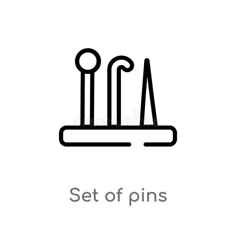 ensemble d'ensemble d'icône de vecteur de goupilles la ligne simple noire d'isolement illustration d'?l?ment de cousent le concep illustration stock