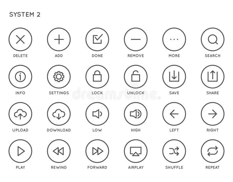 Ensemble d'icône de vecteur de l'interface UI d'utilisateur du système Icônes rayées minimales de haute qualité pour tous les but illustration de vecteur