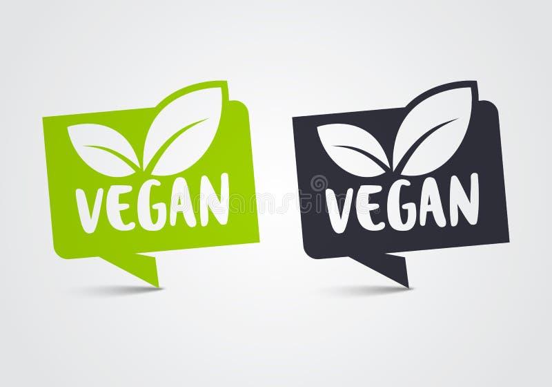 Ensemble d'icône de Vegan d'illustration de vecteur Feuille verte bio et écologie, Logo Label Tag organique illustration stock