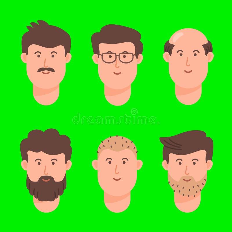 Ensemble d'icône de visage d'avatar de bande dessinée d'hommes illustration de vecteur
