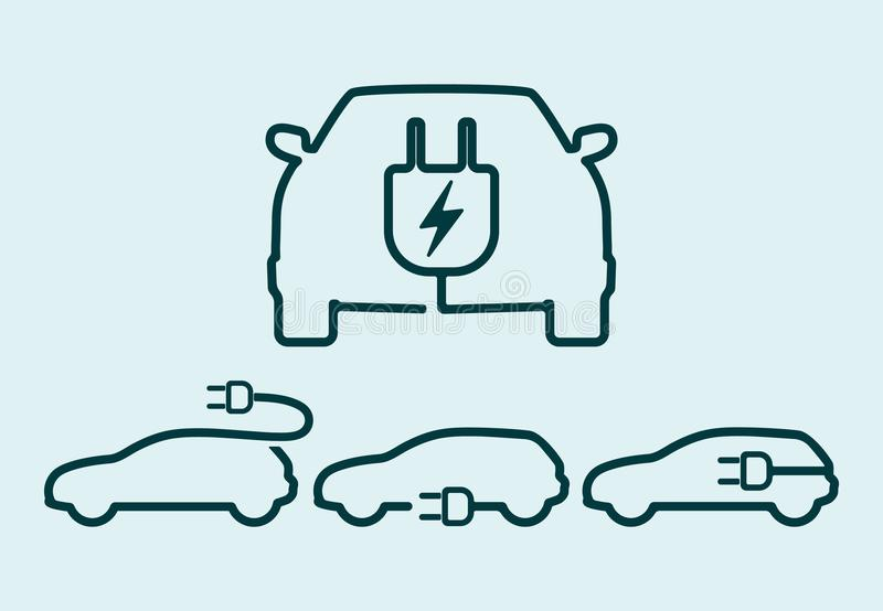 Ensemble d'icône de voiture électrique illustration stock