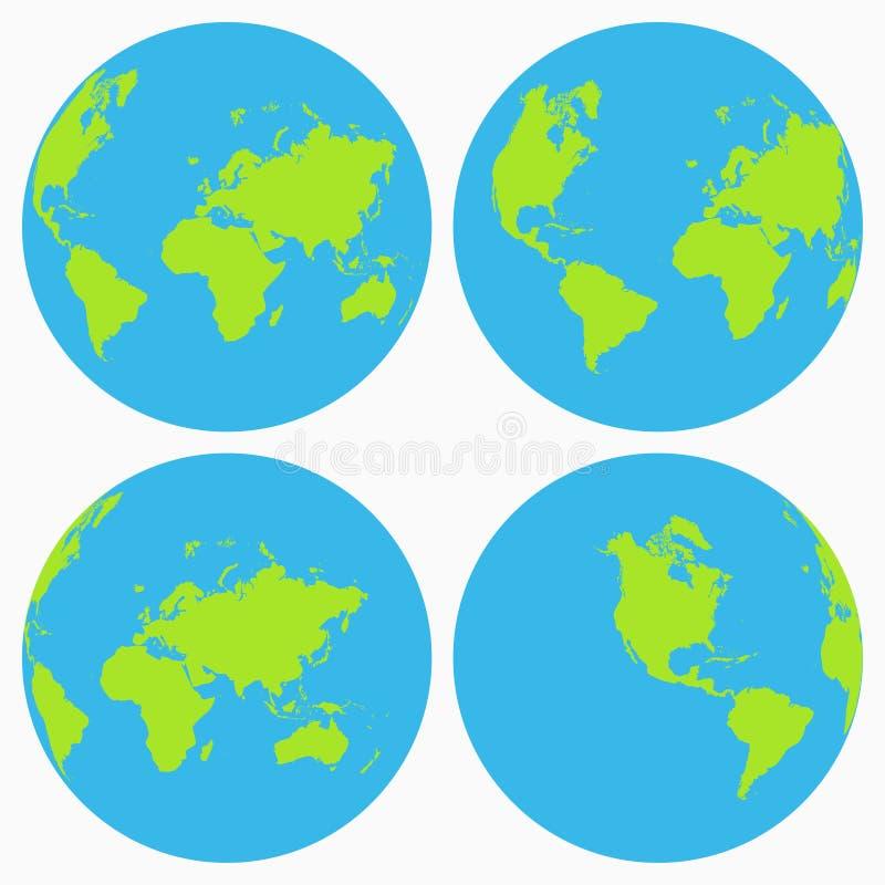 Ensemble d'icône du monde Collection de globe de la terre, planète Vecteur illustration de vecteur