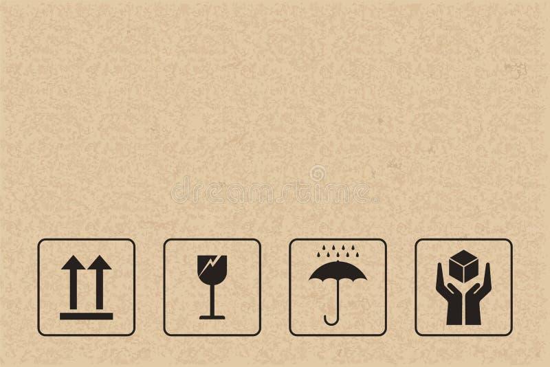 Ensemble d'icône d'emballage de carton Signe et symbole fragiles de soin illustration de vecteur