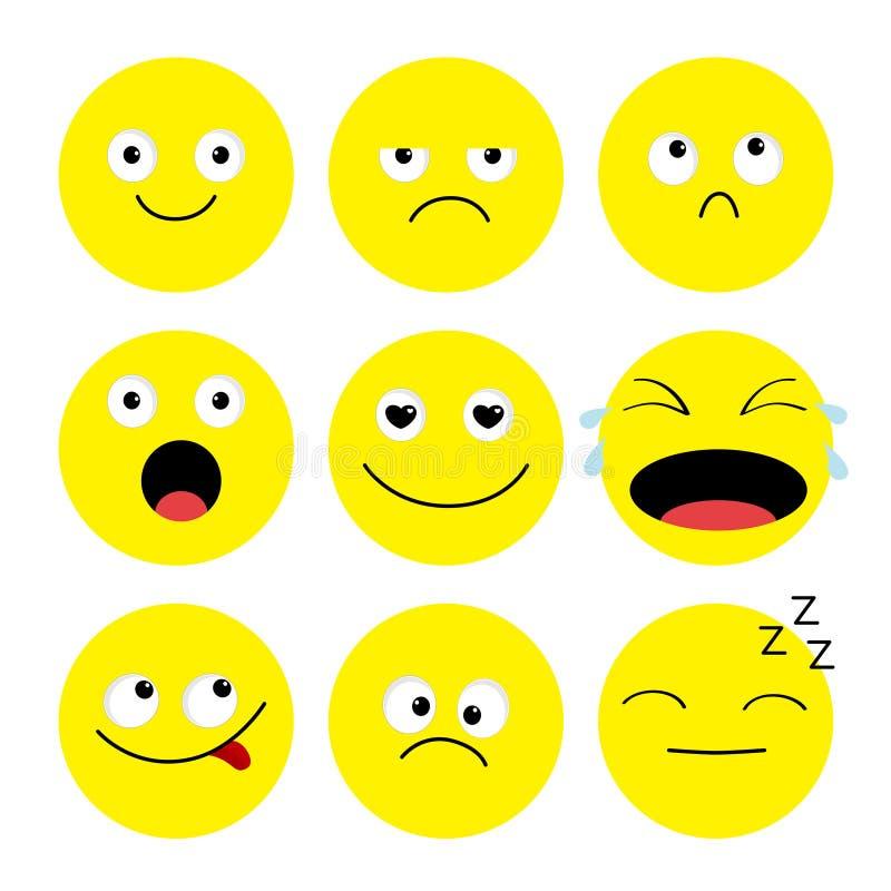 Ensemble d'icône d'Emoji émoticônes Personnages de dessin animé drôles de kawaii Collection d'émotion Visage fâché triste pleuran illustration libre de droits