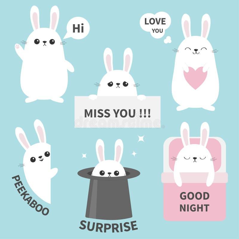 Ensemble d'icône d'emoji d'émotion d'autocollant de lapin Mlle vous Salut La bonne nuit, vous aiment Visage principal drôle Perso illustration de vecteur