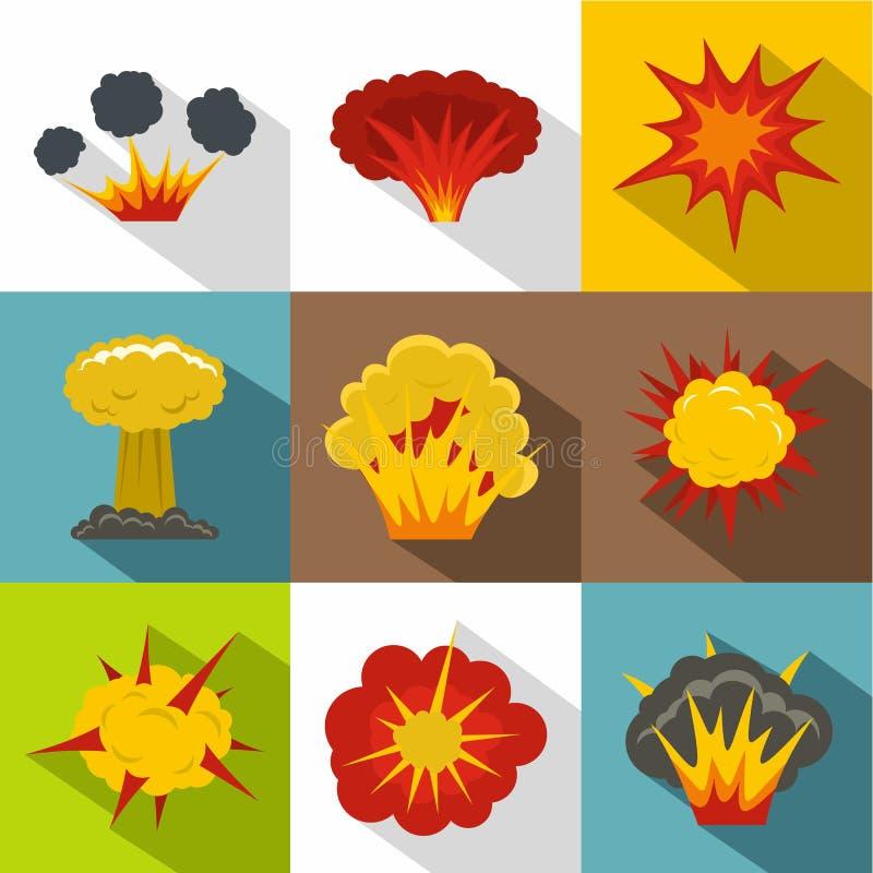 Ensemble d'icône d'explosion, style plat illustration stock