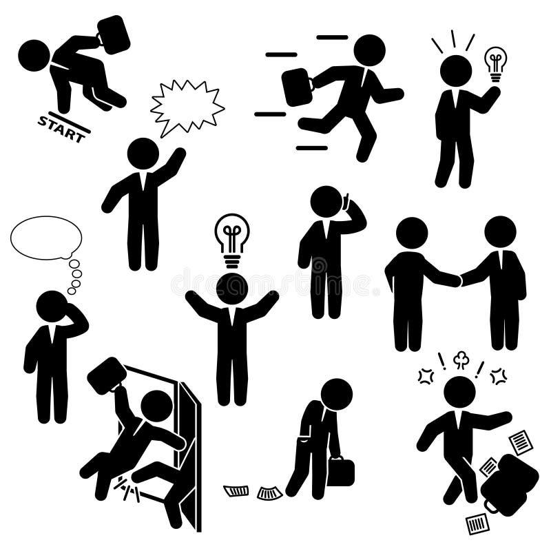 Ensemble d'icône d'homme d'affaires Diverses actions d'homme d'affaires Vecteur illustration de vecteur