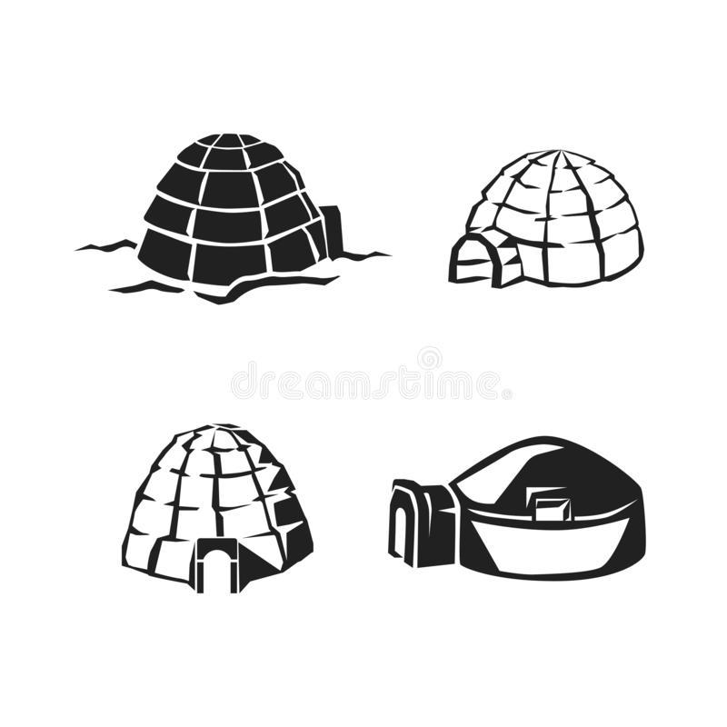 Ensemble d'icône d'igloo, style simple illustration libre de droits