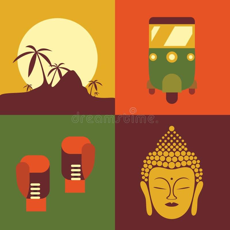 Ensemble d'icône d'illustration de vecteur de la Thaïlande : jungle, taxi, boxe, Bouddha illustration stock