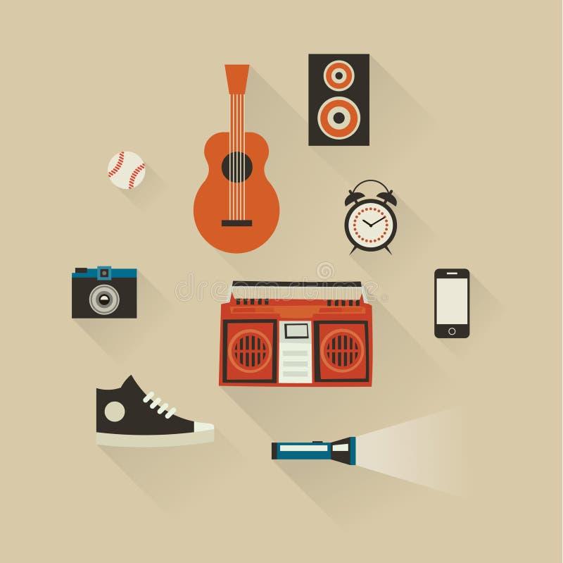 Ensemble d'icône d'illustration de vecteur de mode de vie : base-ball, guitare, caméra, magnétophone, téléphone, horloge, chaussu illustration libre de droits