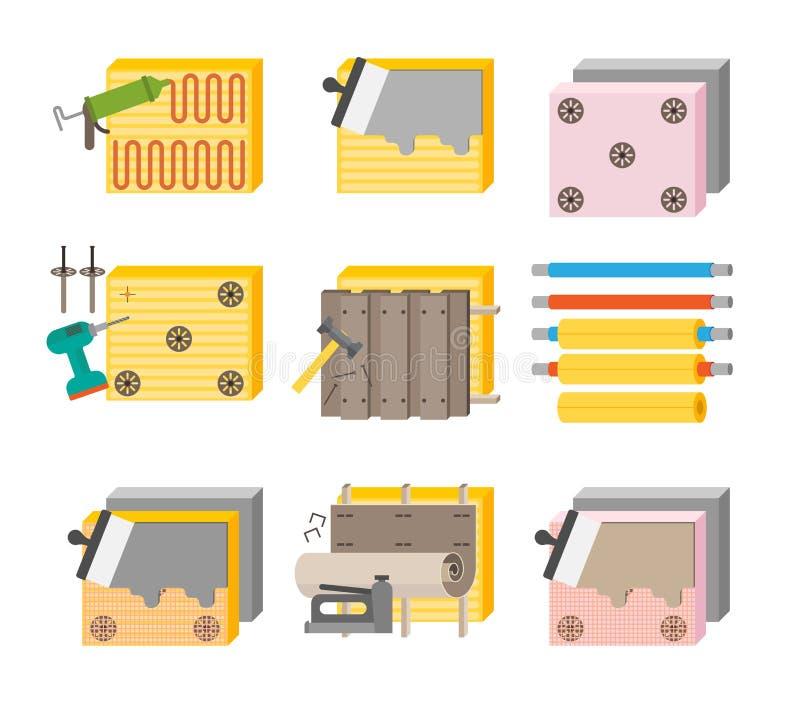 Ensemble d'icône d'illustration de vecteur de procédé d'isolation thermique illustration de vecteur