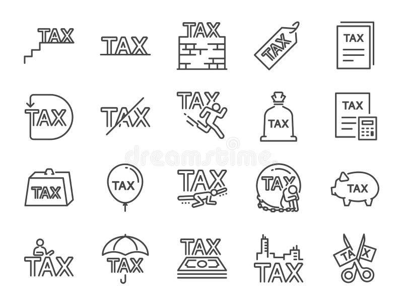 Ensemble d'icône d'impôts A inclus les icônes comme des honoraires, cirpp, des fonctions, taxe financière obligatoire, des réclam illustration stock