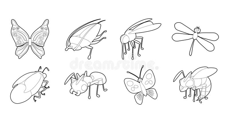 Ensemble d'icône d'insectes, style d'ensemble illustration stock
