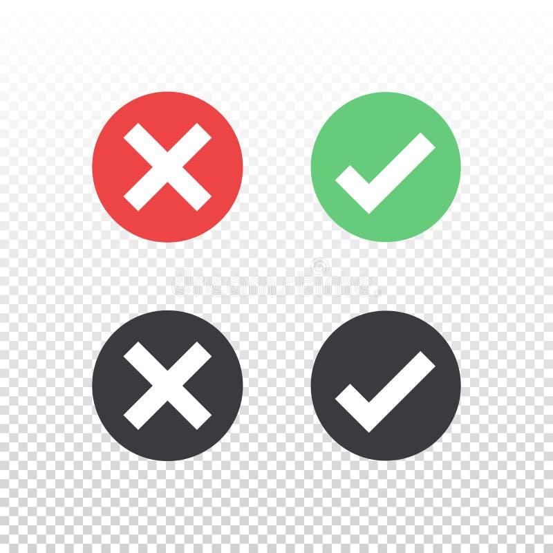 Ensemble d'icône noire verte rouge de coche d'icône de cercle sur le fond transparent Approuvez et décommandez le symbole pour la illustration libre de droits