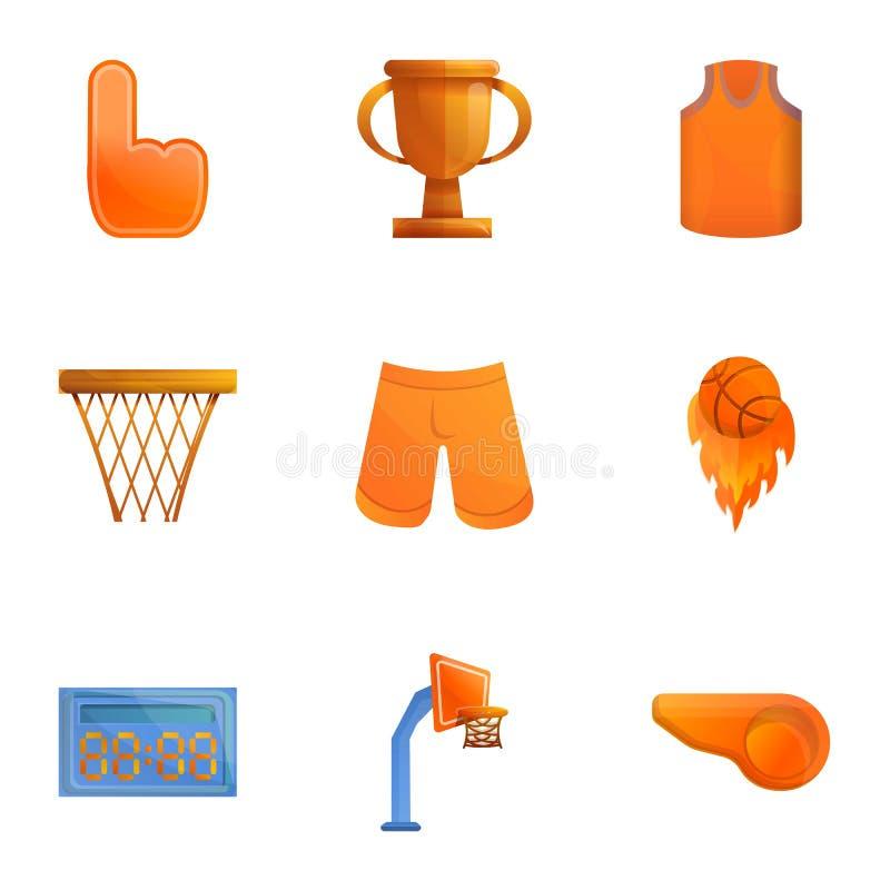 Ensemble d'icône d'objets de basket-ball, style de bande dessinée illustration libre de droits