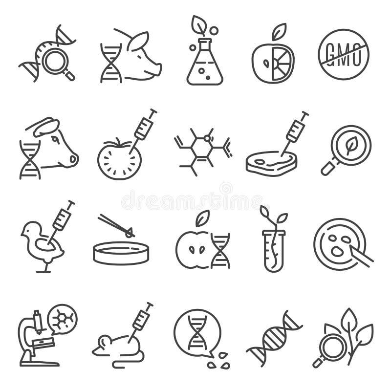 Ensemble d'icône d'OGM illustration stock