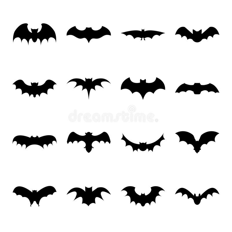 Ensemble d'icône plate de silhouette de batte sur le fond blanc, symbole de Halloween pour le Web illustration libre de droits