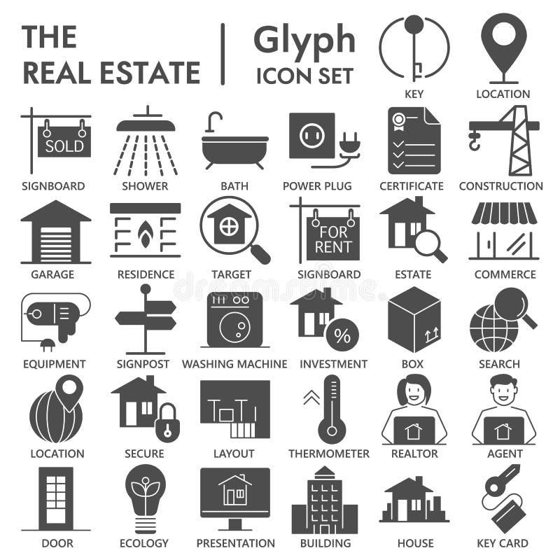 Ensemble d'icône SIGNÉ par glyph immobilier, symboles collection, croquis de vecteur, illustrations de logo, signes de maison de  illustration libre de droits