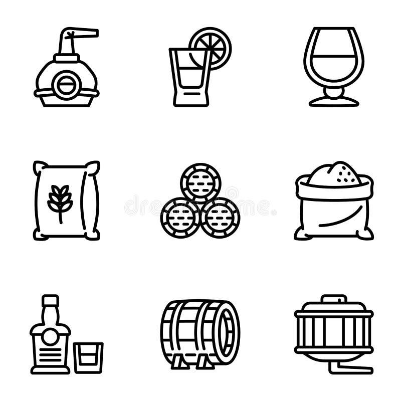 Ensemble d'icône d'usine de whiskey, style d'ensemble illustration de vecteur