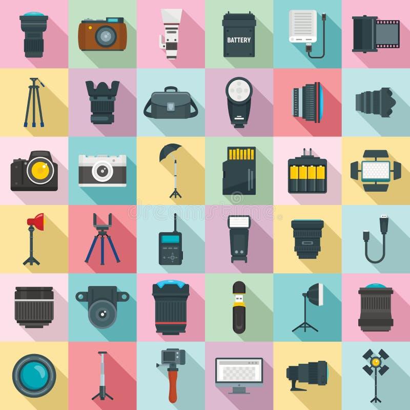 Ensemble d'icônes d'équipement de photographe, style plat illustration de vecteur