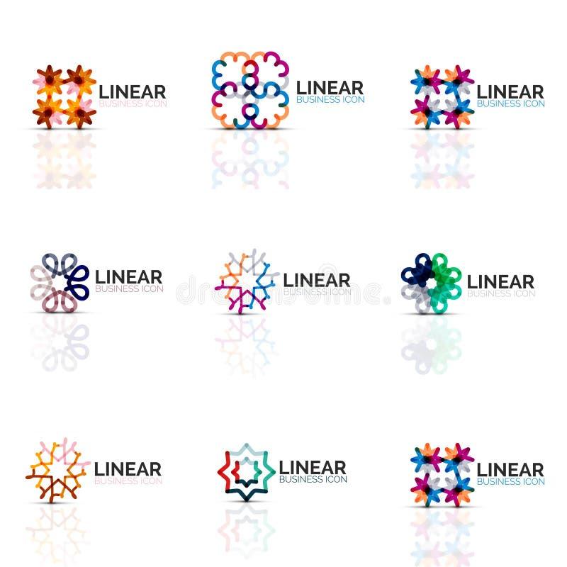 Ensemble d'icônes, étoiles et fleurs, mode d'affaires ou concept abstraite minimalistic géométrique de beauté illustration stock