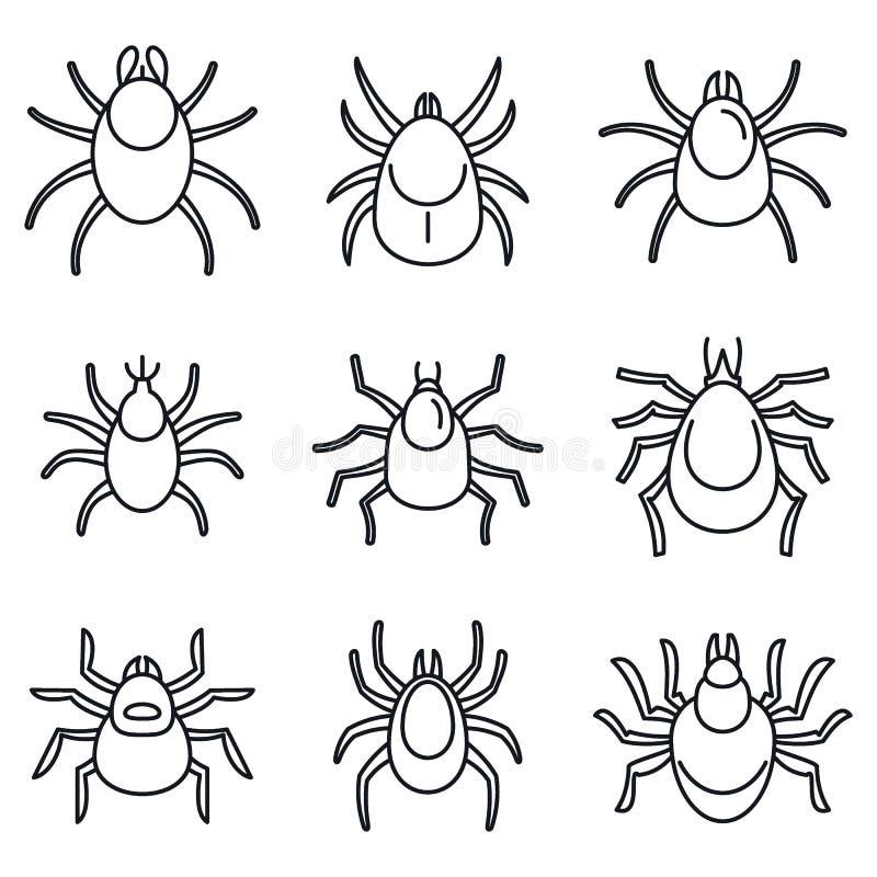Ensemble d'icônes d'acarides de la poussière, style d'ensemble illustration stock