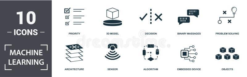 Ensemble d'icônes d'apprentissage automatique Contenir le capteur plat rempli, l'algorithme, le modèle 3d, la priorité, l'archite illustration de vecteur