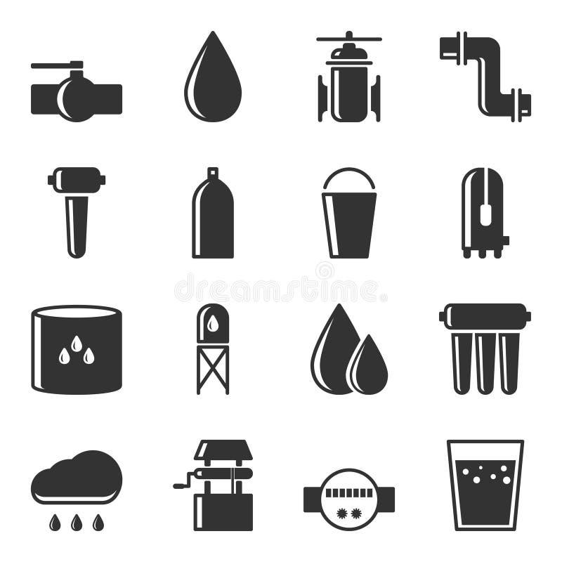 Ensemble d'icônes d'approvisionnement en eau pour des sources d'eau Vecteur sur le fond blanc illustration libre de droits