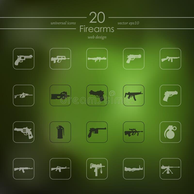 Ensemble d'icônes d'armes à feu illustration stock