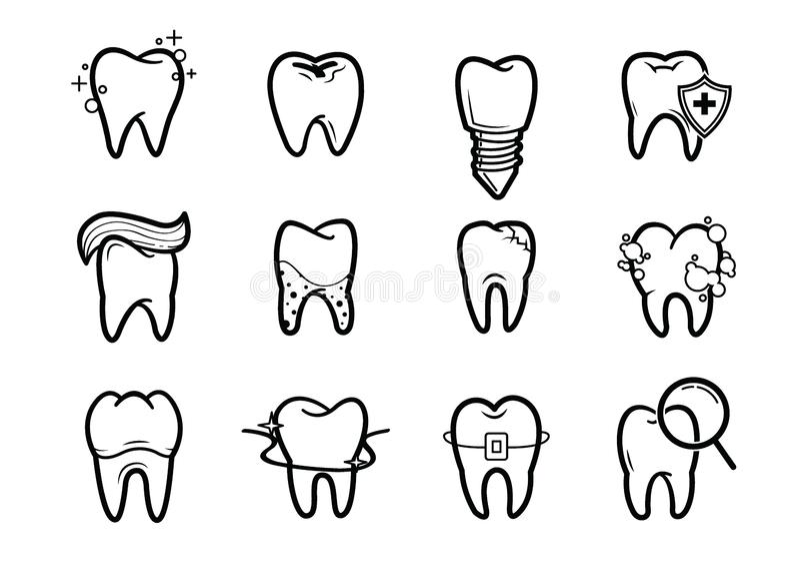 Ensemble d'icônes d'ensemble d'art dentaire illustration libre de droits