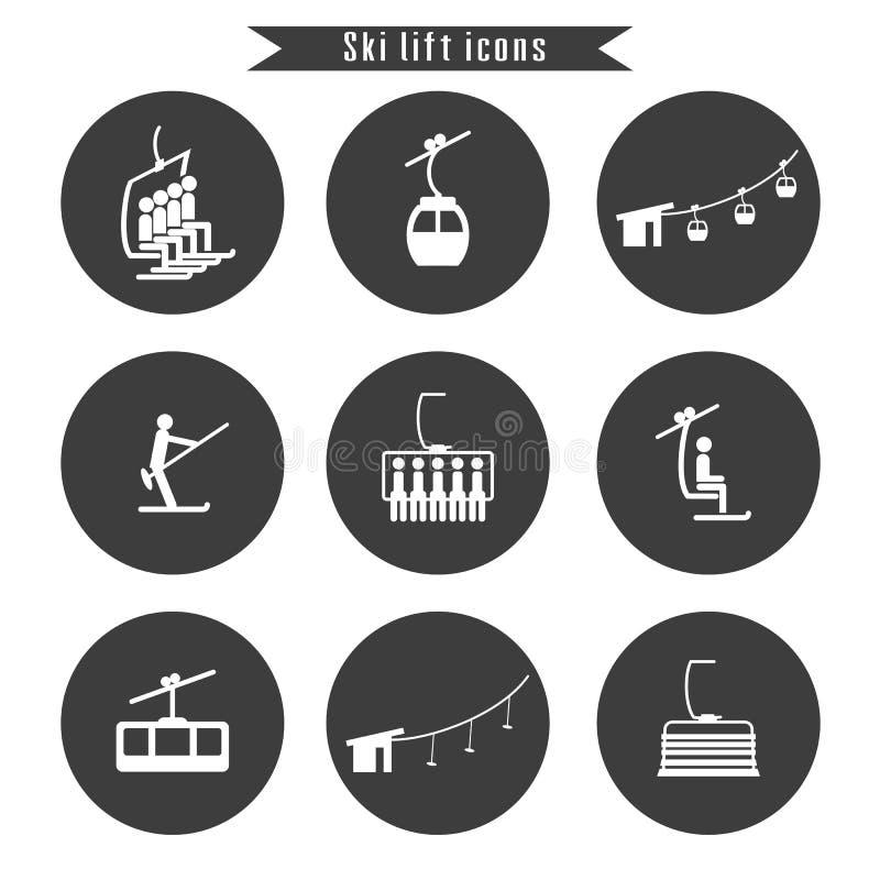 Ensemble d'icônes d'ascenseur de câble de ski pour le ski et les sports d'hiver illustration de vecteur