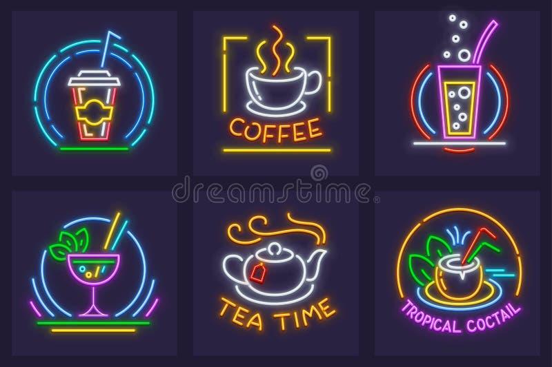 Ensemble d'icônes au néon avec le kola de boissons illustration de vecteur