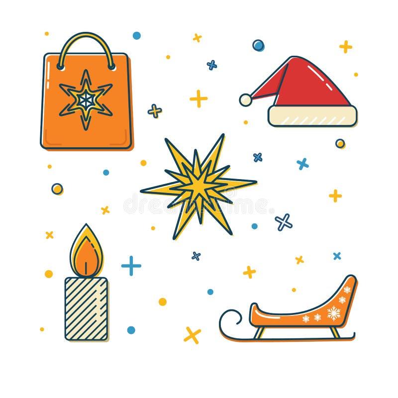 Ensemble d'icônes colorées de Noël dans la ligne style mince illustration de vecteur
