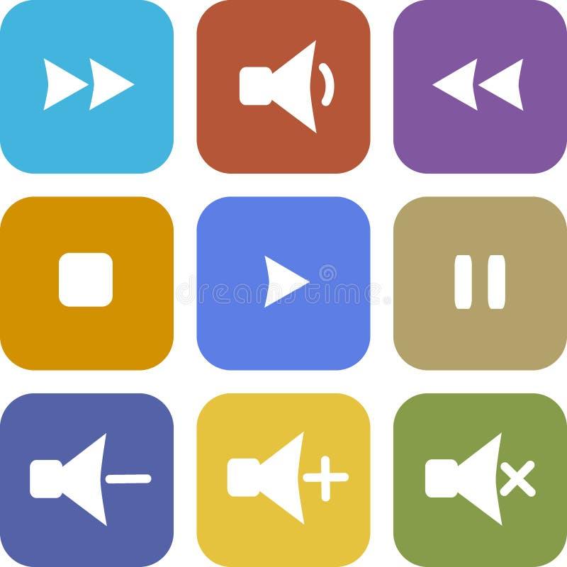 Ensemble d'icônes colorées sur un fond blanc photographie stock