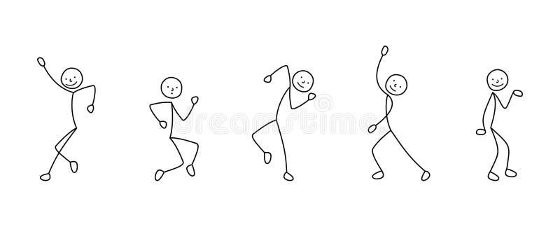 Ensemble d'icônes de bande dessinée de danse de chiffre de bâton de personnes de croquis, scènes illustration de vecteur