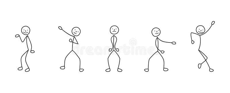 Ensemble d'icônes de bande dessinée de danse de chiffre de bâton de personnes de croquis, scènes illustration stock
