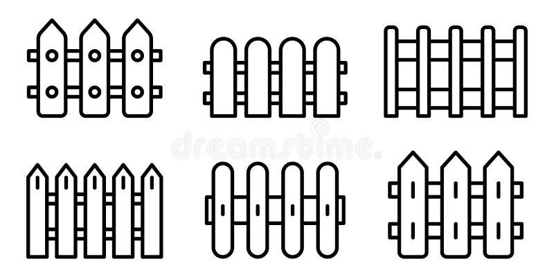 Ensemble d'icônes de barrière, style d'ensemble illustration stock