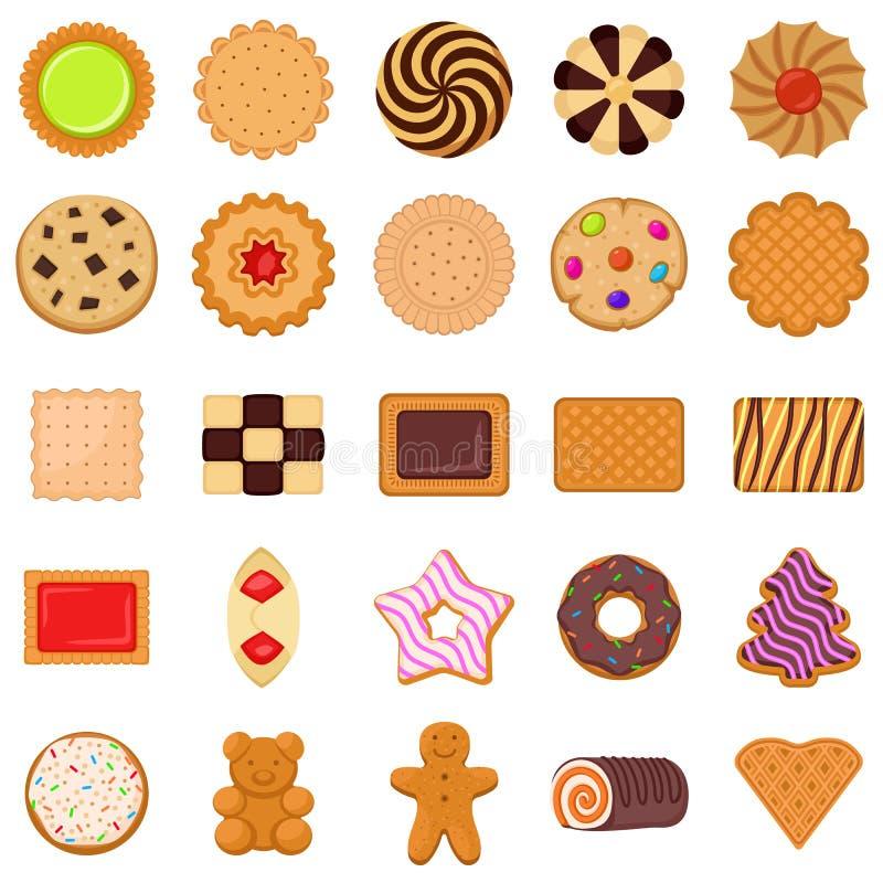 Ensemble d'icônes de biscuit, style plat illustration libre de droits