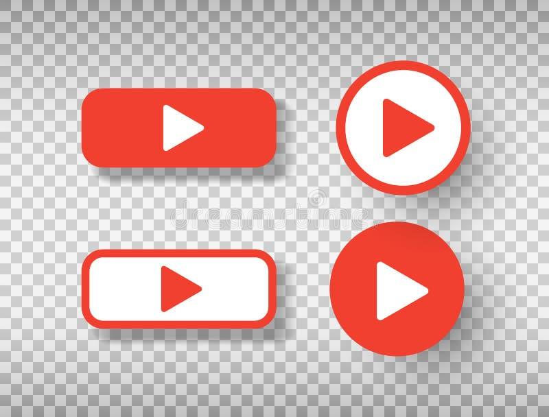 Ensemble d'ic?nes de bouton de jeu d'isolement sur le fond transparent Symbole social de media Calibre de conception pour le Web, illustration stock