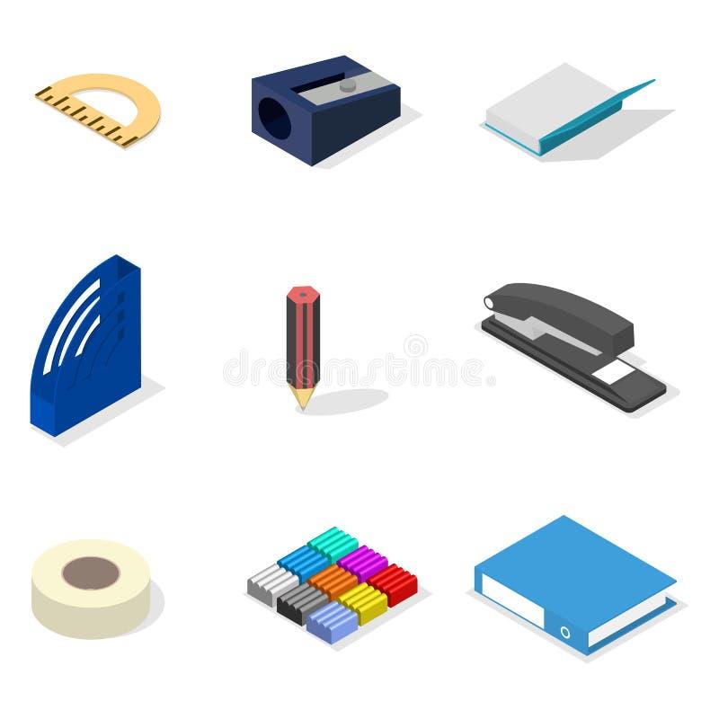 Ensemble d'icônes, de bureau et d'école 3D style isométrique plat, illustration de vecteur illustration libre de droits
