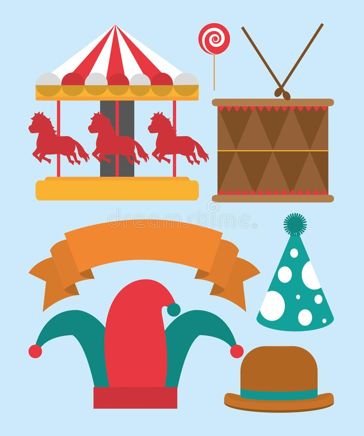 Ensemble d'icônes de carnaval illustration libre de droits
