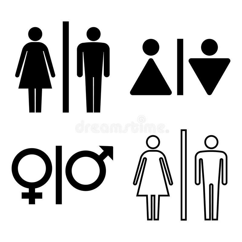 Ensemble d'icônes de carte de travail Icône de genre Icône de salle de toilette Icône d'homme et de femme d'isolement sur le fond illustration stock