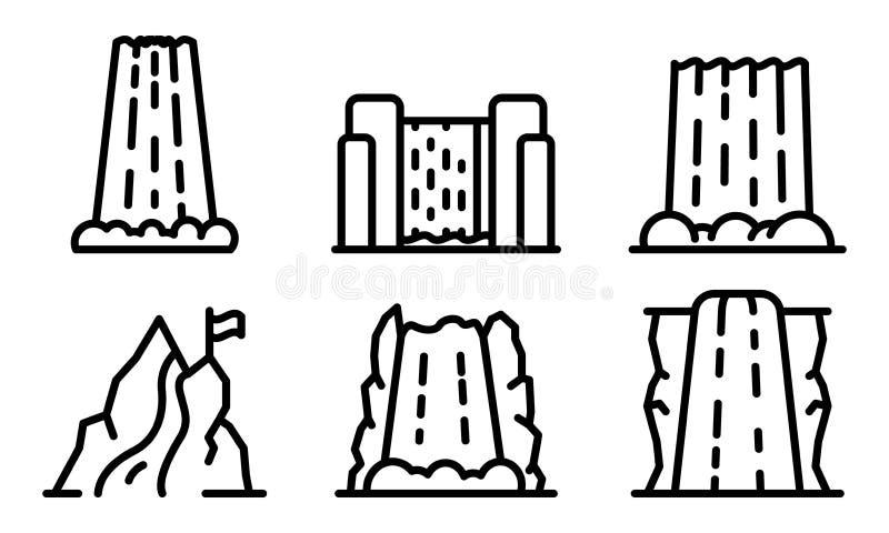 Ensemble d'icônes de cascade, style d'ensemble illustration stock