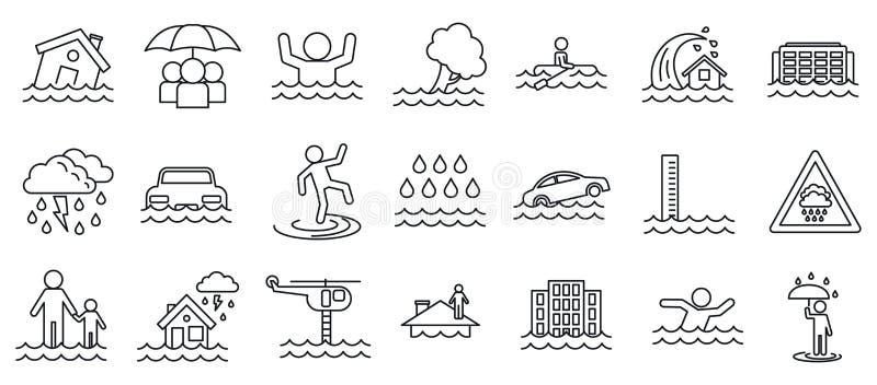 Ensemble d'icônes de cataclysme d'inondation, style d'ensemble illustration stock